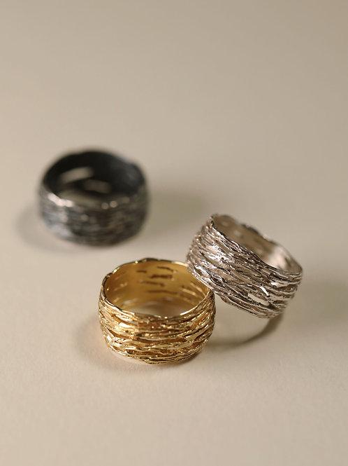 Wide Rose Branch Ring