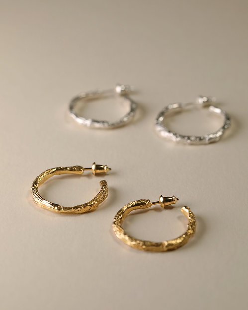 Twig Hoop Earrings / Medium