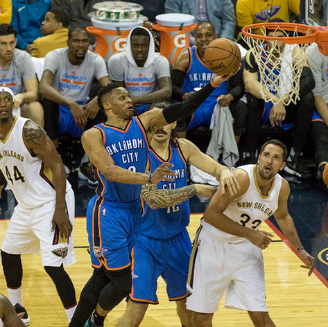 Russell Westbrook drives the lane for a layup against the New Orleans Pelicans at the Smoothie King Center on February 26, 2016. Shot on assignment for the Loyola University New Orleans.
