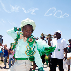 Old and Nu Style Social Aid and Pleasure Club second line at the New Orleans Jazz and Heritage Festival, 2017. This photo was made for the New Orleans Jazz and Heritage Foundation's archives.