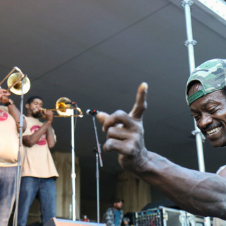 Dancing to the Hot 8 Brass Band at the Treme Creole Gumbo Festival, 2014