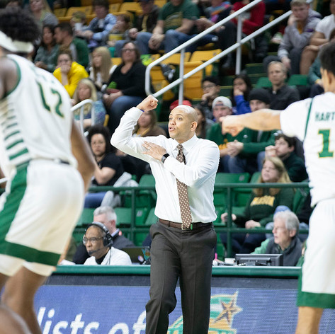 GWU men's basketball head coach Jamion Christian during their game at George Mason University, on February 15, 2020 in Fairfax, Va. GW beat George Mason 73-67.