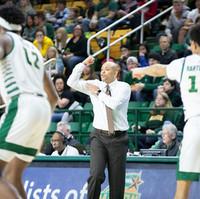 GWU men's basketball head coach Jamion Christian during their game at George Mason University, on February 15, 2020 in Fairfax, Va. GW beat George Mason 73-67.