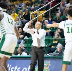GWU men's basketball head coach Jamion Christian during their game against George Mason University, 2020