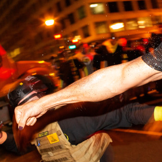 A counter protester throws a punch at a member of the Proud Boys, a neo-fascist group known for politically-motivated violence, in downtown D.C. on Saturday, December 12, 2020