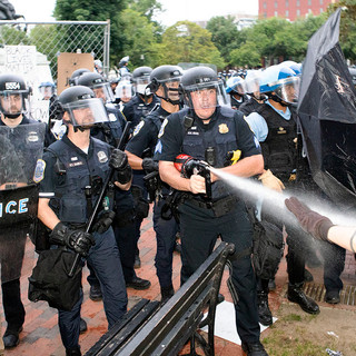 U.S. Park Police and Secret Service disperse a crowd after they tried to tear down the statue of Andrew Jackson in Lafayette Square Park on Monday, June 22.