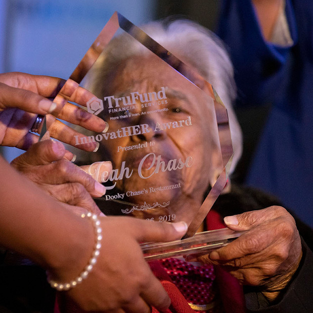 Chef Leah Chase accepts the 2019 InnovatHER award at NOLA Brewing company in New Orleans, La. on March 26, 2019.
