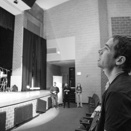 Jim listens to the sermon from lead pastor Aaron Graham.