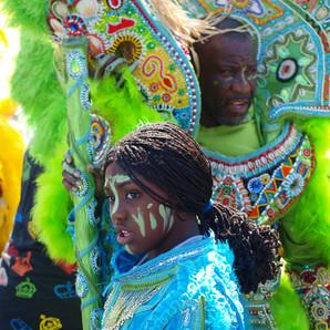 Big Chief Victor Harris of the Fi Ya Ya and Mandingo Warriors at Uptown Super Sunday, 2011