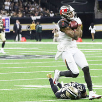 Mike Evans, Tampa Bay Buccaneers wide reciever, burns New Orleans Saints' defensive Marshon Lattimore for a long touchdown during a game in the Mercedes Benz Superdome on Sunday, September 9, 2018. The Bucanneers defeated the Saints, their NFC south rival, 48-40.