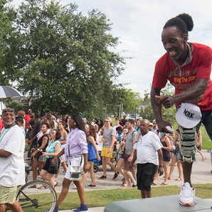 Wilson Morehave dances to the Big Six brass band at the Uptown Swingers Social Aid and Pleasure Club second in 2018. This photo was made for the Uptown Messenger.