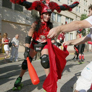 Running of the Bulls, July 11, 2014. This photograph was made for WWL Radio.