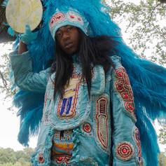 Spyboy J'Wan Boudreaux of the Golden Eagles Mardi Gras Indians