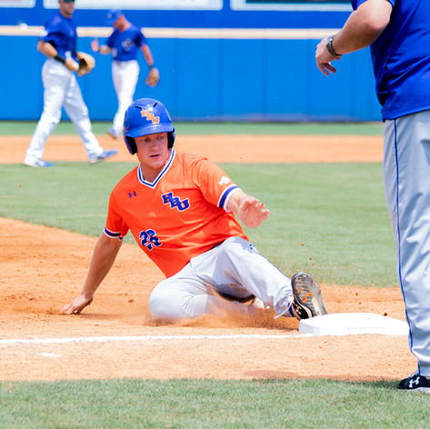 Brandon Brea, Houston Baptist University outfielder, slides into home plate during a game against the University of New Orleans on Saturday, May 11, 2019 at Maestri Field in New Orleans, La. Houston Baptist lost to UNO 6-14.