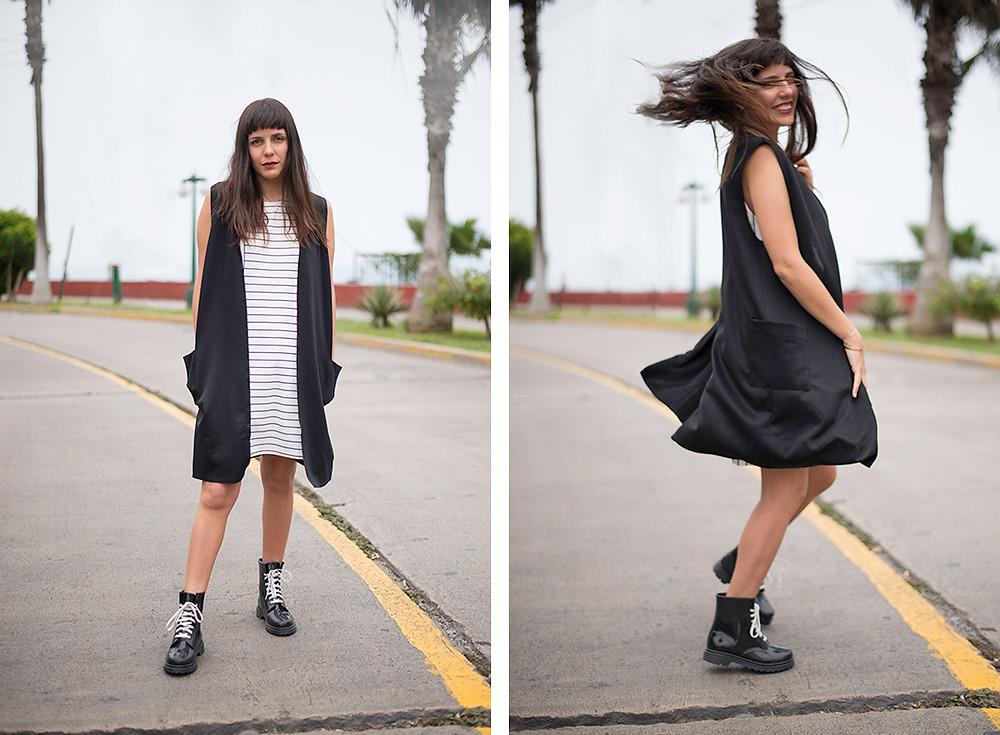 outfit vestido y maxi chaleco mia moments