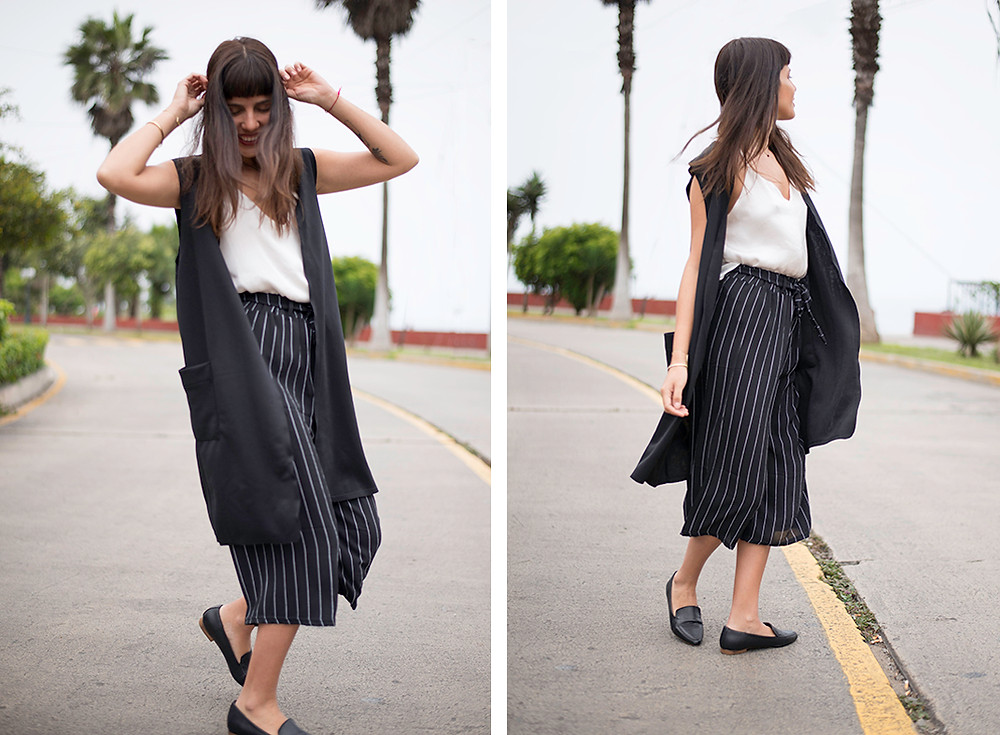 outfit palazo y maxi chaleco