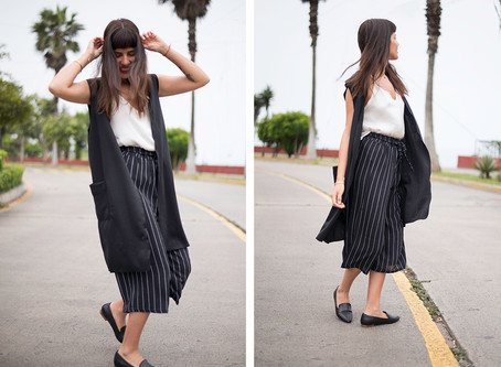 4 outfits con chaleco largo