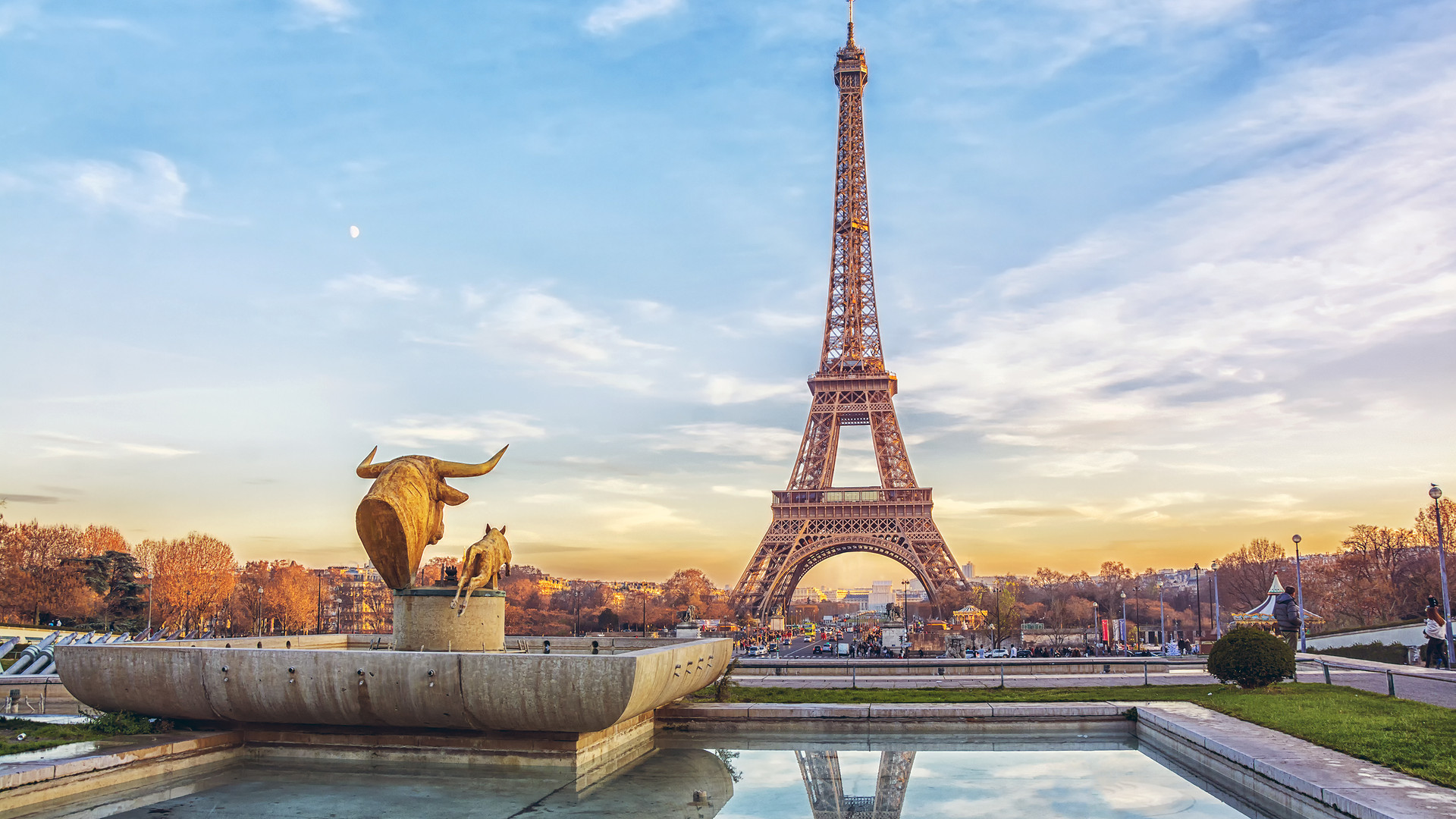 Eiffel Tower at sunset in Paris, France.