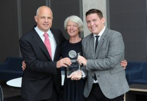 CIPR President Stephen Waddington, Pamela Mounter, and the Douglas Smith Award winner Jeremy Dickey