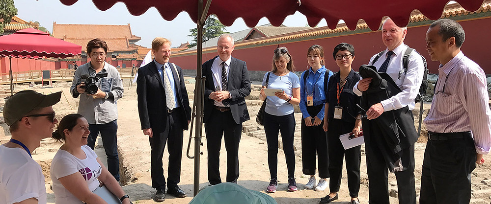 Visit of Prof Stuart Corbridge, the Vice-Chancellor of Durham University, visiting the work in the Forbidden City in May 2017.