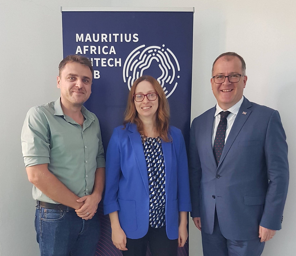 Michal Szymanski (CEO, Mauritius Africa FinTech Hub), Samantha Seewoosurrun MCIPR, H.E. Keith Allan (British High Commissioner to Mauritius)