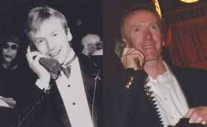 Michael Harrison (left) making the UK's first mobile call in 1985, the moment recreated, taking Michael to the same spot with the Transportable Vodafone VT1 in 2014