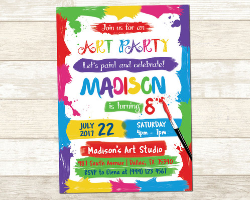 Art party invitation art birthday party invitation paint party art party invitation art birthday party invitation paint party invite stopboris