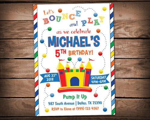 Bounce house birthday invitation boys bounce house party invitation stopboris Gallery