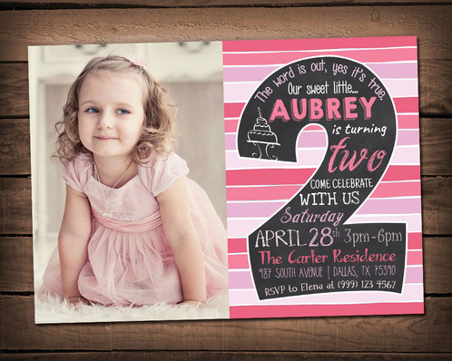 2nd birthday invitation chalkboard birthday invitation