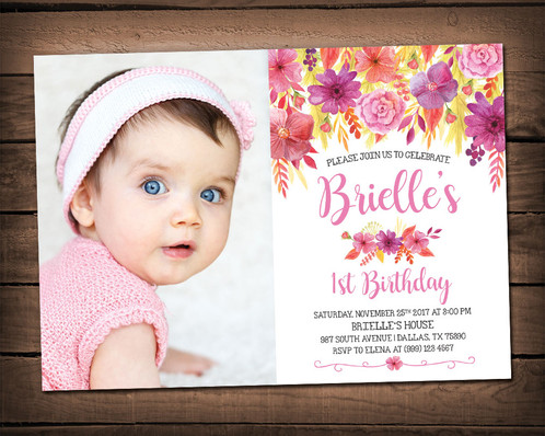 floral first birthday invitation floral birthday party invitation