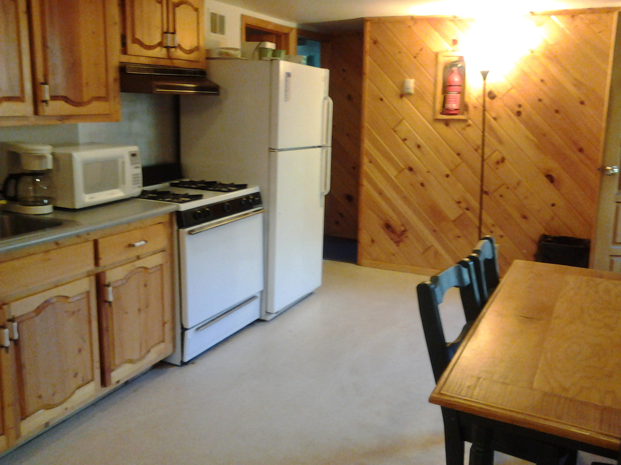 Kitchen of three bedroom log cabin