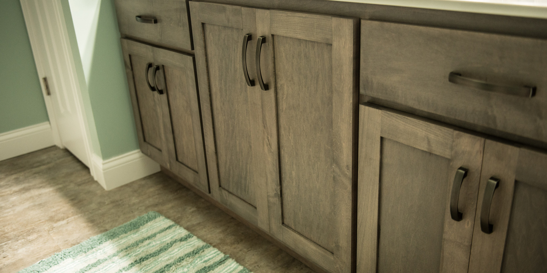 Maple vanity stained grey