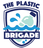 The Plastic Brigade logo with bottle floating in the water
