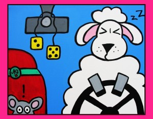 A Sheep at the Wheel
