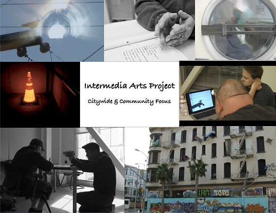 A collage of images: female hands gesturing over a pad of paper with a handwritten poem; a commercial dryer door bearing the reflection of a man photographing himself; Scott Wallin working with another man on a laptop computer with an image of a bird on a telephone wire; the same image of the bird superimposed on an image of a tunnel with a light at the end; the exterior of an apartment building in the Tenderloin District with colorful furniture hanging outside as artwork; the silhouette of a man kneeling down and videotaping an individual working at a desk; a glowing construction cone that has been placed over a ground light on the street at night.