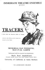 A poster of the theater production Tracers, featuring a black and white drawing of the bust of a young male, American soldier in profile, gazing downwards.