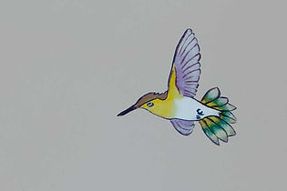 Decorative painting detail of a hummingbird