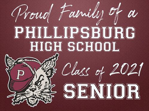 """Proud Family"" of a Phillipsburg 2021 Senior Yard Sign"