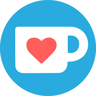 The Ko-Fi logo. A blue circle with a white coffee cup icon with a red heart on.