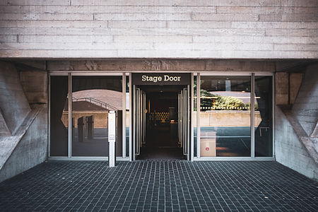 A photo of the stage door entrance to the National Theatre.
