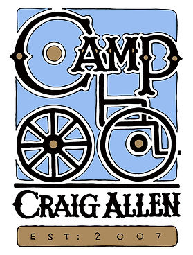 Camp Craig Allen Logo with blue background and black letters with a wheelchair intertwined with the words Camp Craig Allen. Below it says established 2007.