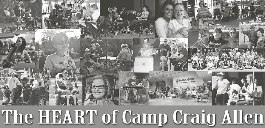 "Photo collage of numerous Camp Craig Allen program participants. At the bottom it says ""The Heart of Camp Craig Allen"""