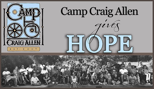 Banner with Camp Craig Allen logo that says Camp Craig Allen Gives Hope with a picture of campers and volunteers smiling by a pool.