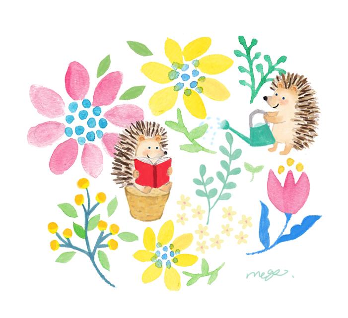 ハリネズミと花