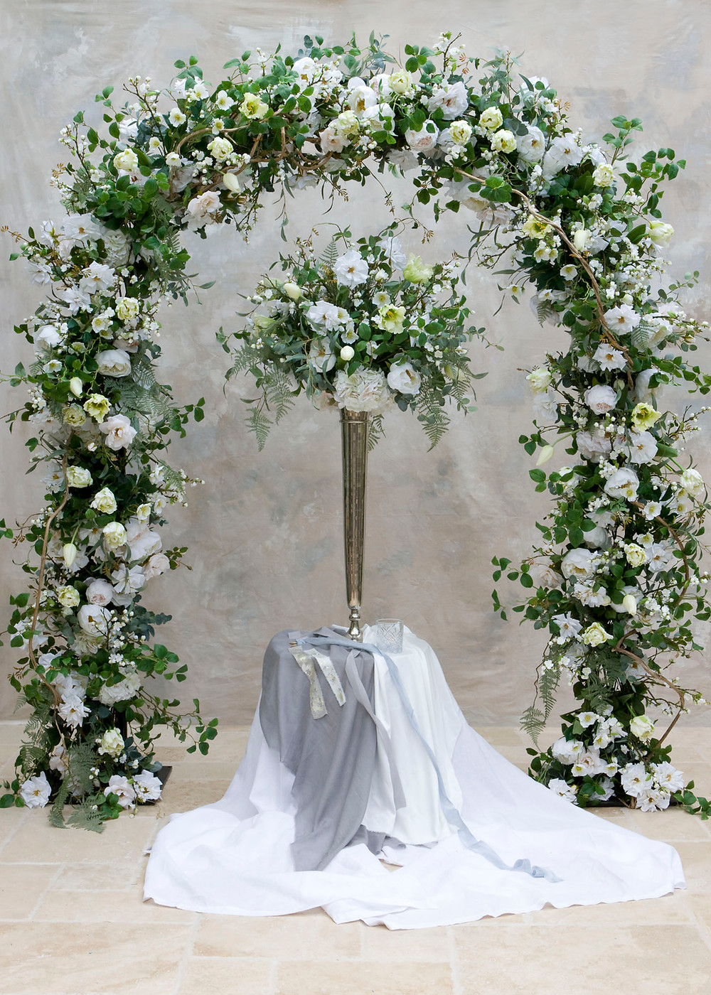 Faux floral spring arch and table centrepiece for hire, Essex