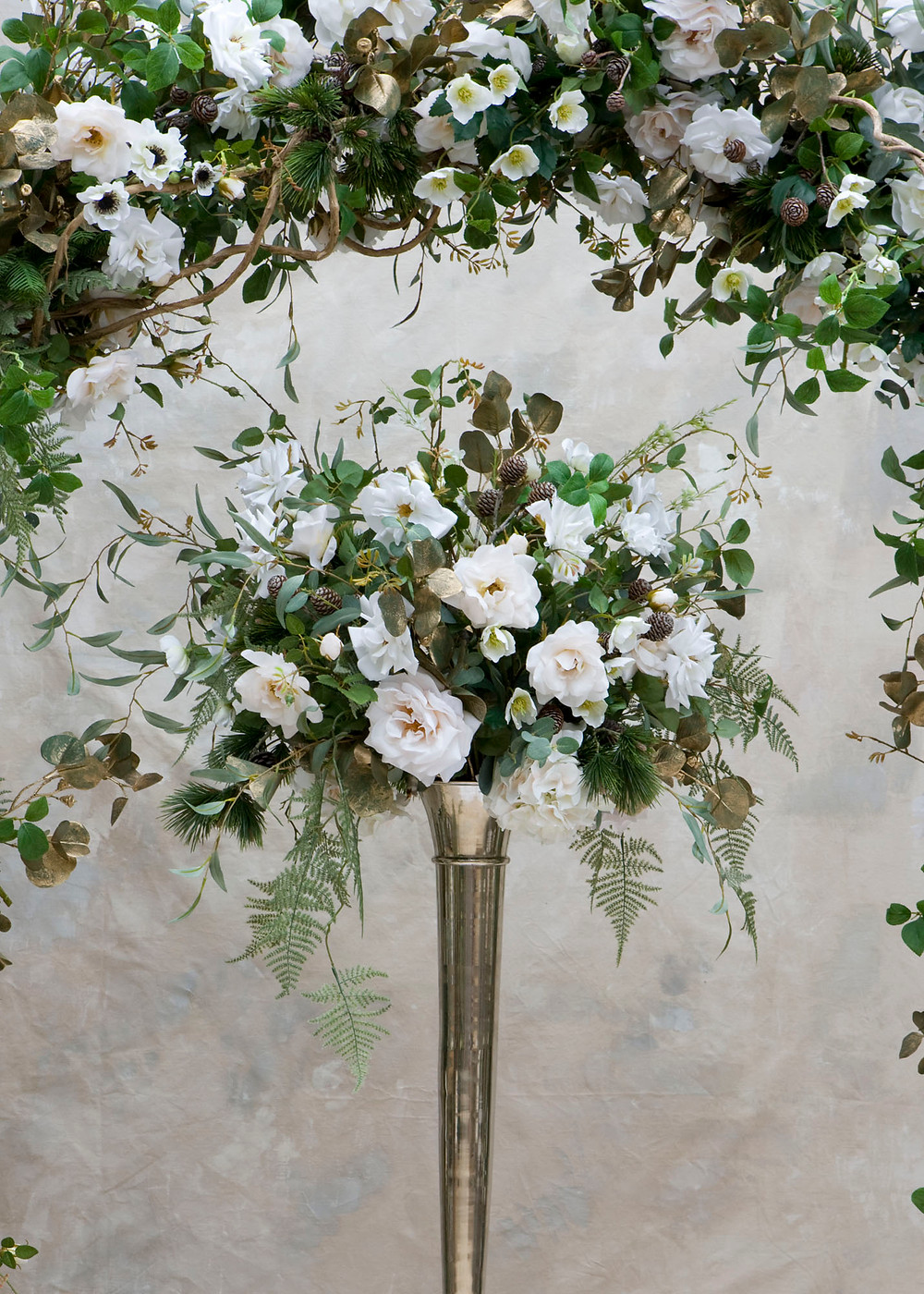 Winter Wedding Faux Flower Table centerpiece for hire, Essex