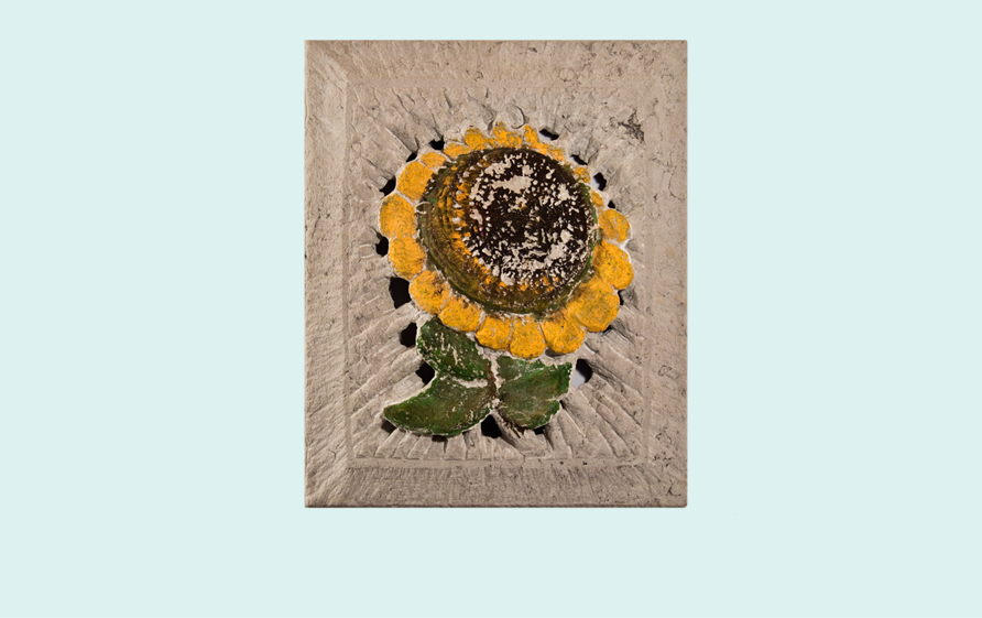 Sunflower, Sandstein, Acrylfarbe