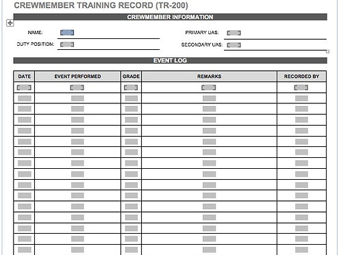 TR-200 CREWMEMBER TRAINING RECORD