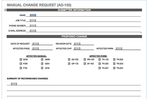 AD-100 MANUAL CHANGE REQUEST (MCR)