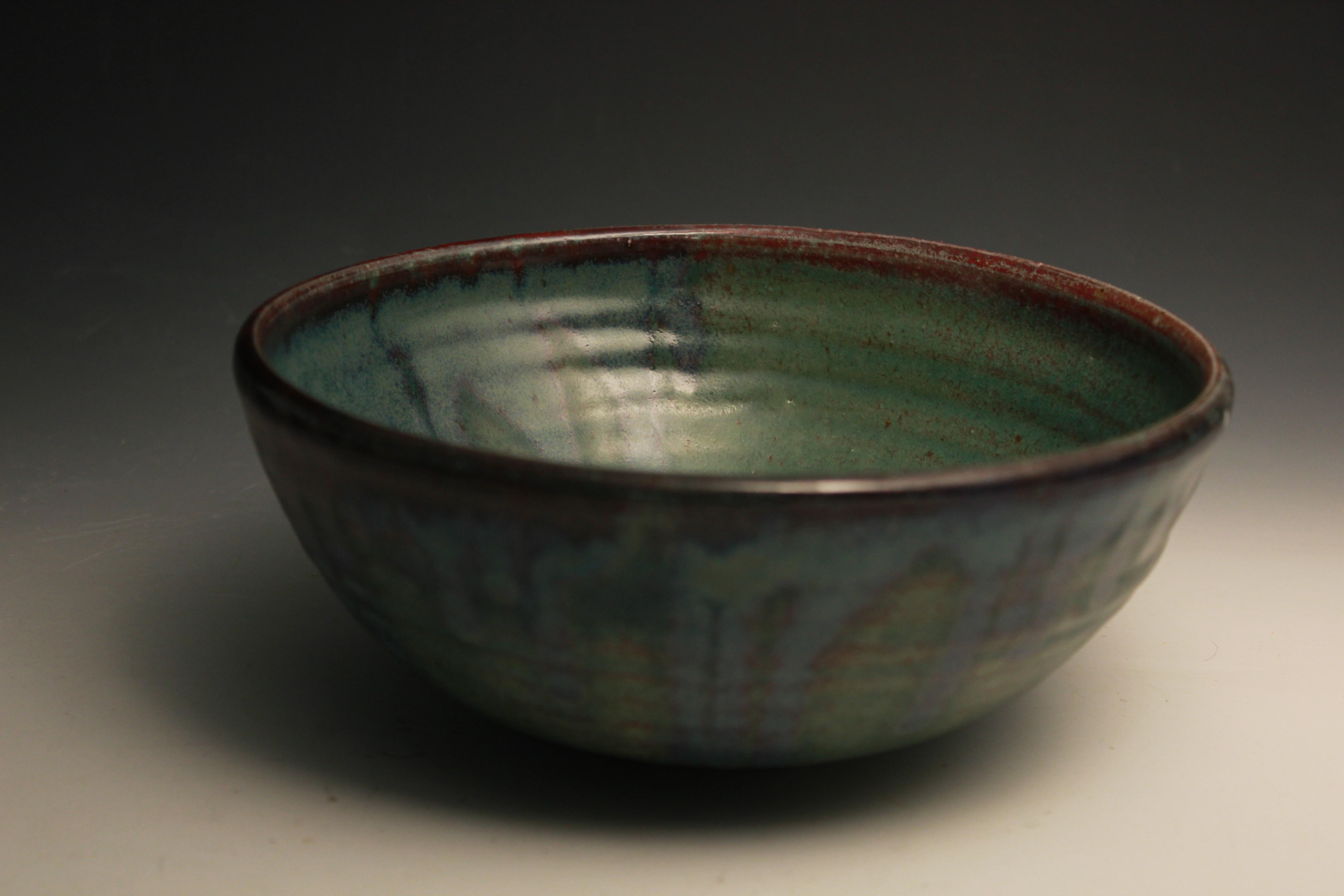 Black stoneware serving bowl